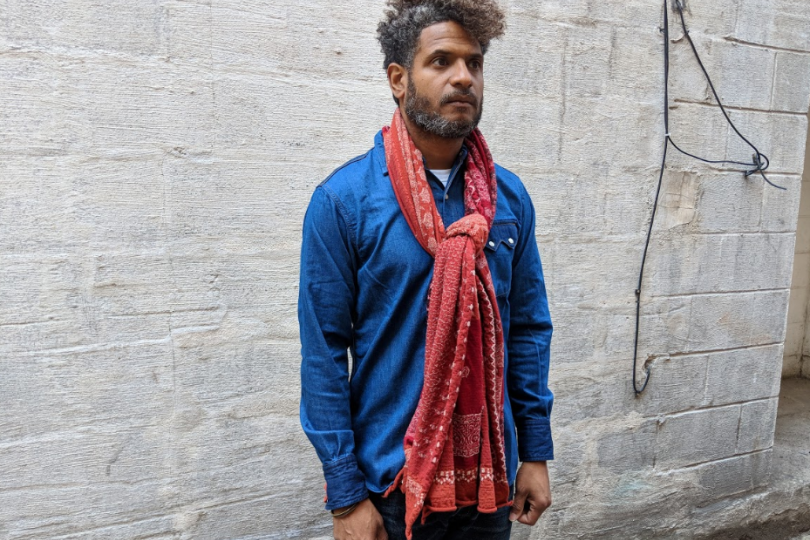 Kapital Compressed Wool Scarf Red Bandanna Patchwork